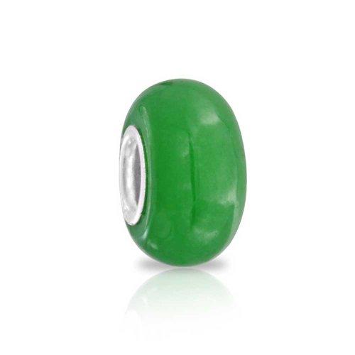 925 plata piedra jade verde abalorio