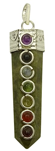 Lápiz varita colgante de 7 chakras piedra de jade verde equilibrio espiritual reiki cura de cristal de regalo